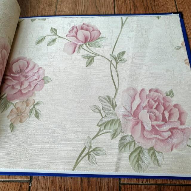 Grosir Murah Wallpaper Vinyl Tebal Bertekstur Motip Bunga Mawar Pink Cantik Shopee Indonesia