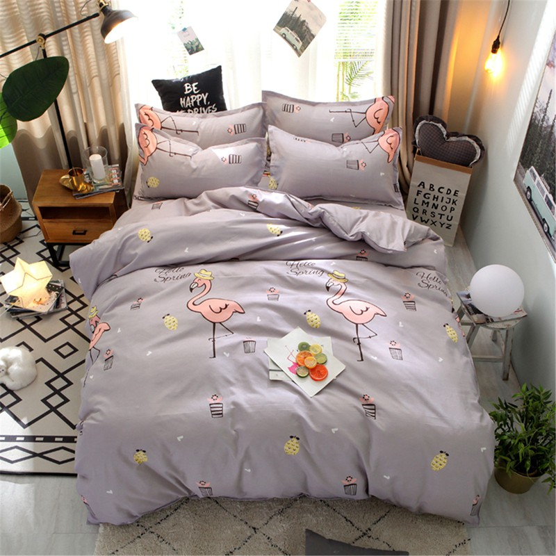 Cheap Bedding Set Zip Closure Quilt Duvet Cover Flat Sheet