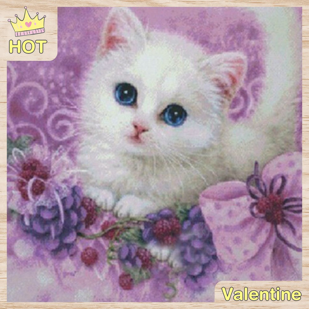 DIY Lukisan Diamond 5D Dengan Gambar Kucing Kecil Dan Hiasan Berlian Buatan