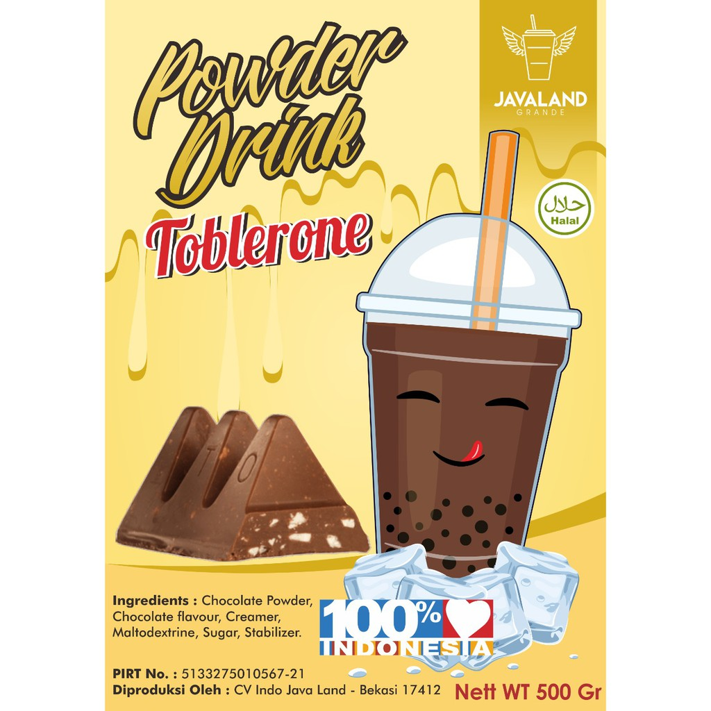 Bubuk Minuman Rasa Choco Toblerone Bubble Drink Powder Drink Ice Blended 1kg Javaland Minuman Instan Shopee Indonesia