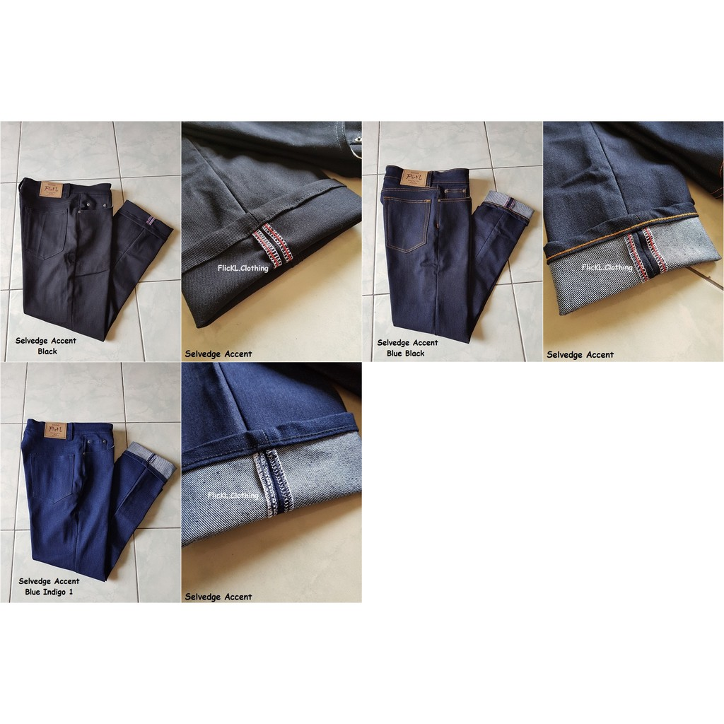 Celana Jeans Denim Pants Panjang Shell Stitch Selvedge Shopee Edwin London Reguler Fit Pria Medium Black Hitam 36 Indonesia