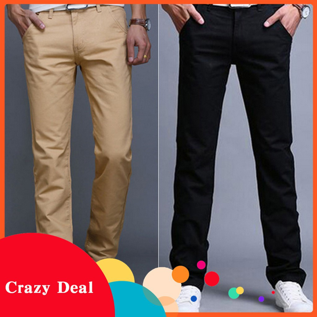 Fashion Men Slim Fit Straight-Leg Jeans Trousers Casual Pencil Business Pants