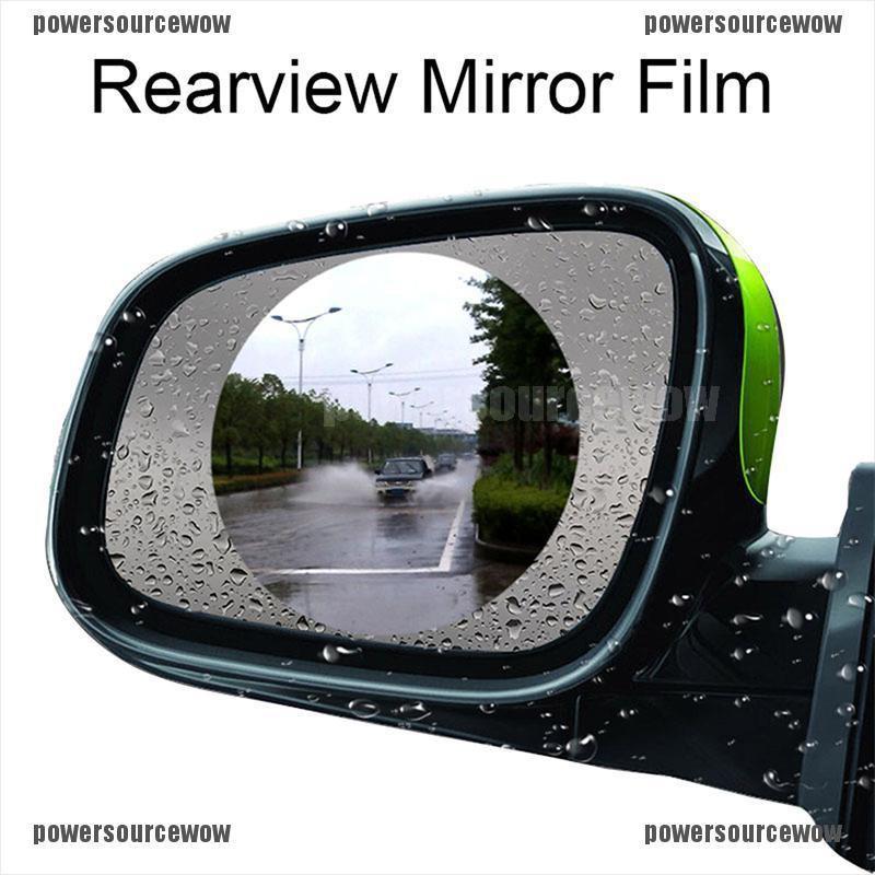 Car Rear View Mirror Film Set Rainproof Film Anti Fog Anti Glare HD Nano Coating Protective Sticker Side Window Reflective Mirror Universal Waterproof Film 4PCS for Safe Driving