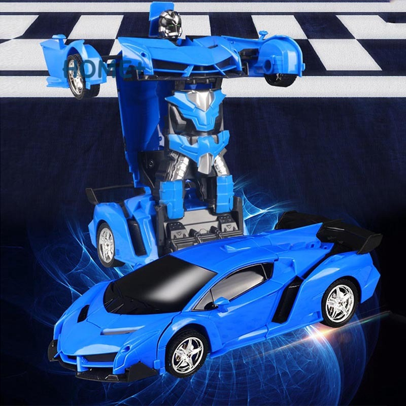 Gesture Sensing Remote Control Robot One Button Transformation Car Kids Toy Gift