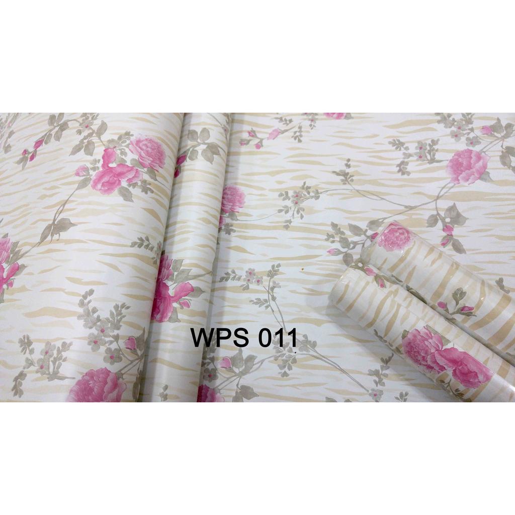 METH WALLPAPER WPS011 PINK FLOWER N GOLDEN MOTIF WALPAPER