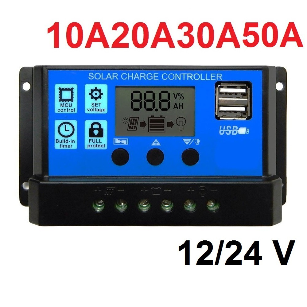 Solar Charge Controller LCD LED Display Solar cell PWM 12V/24V 10A 20A 30A USB Panel Surya Charger charger fast charging / charger / charger oppo / charger xiaomi / charger samsung / charger xiaomi original / charger mobil
