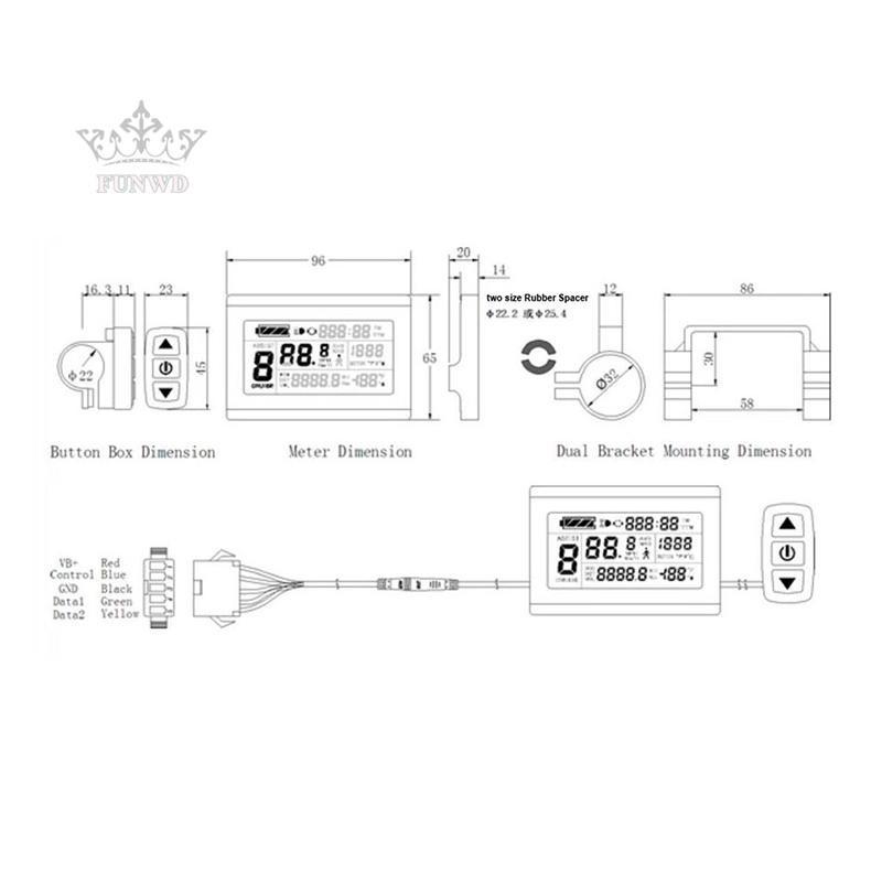 LCD3 kt lcd3 ebike 24V 36V 48V intelligent black Control Panel LCD Display Details about  /KT
