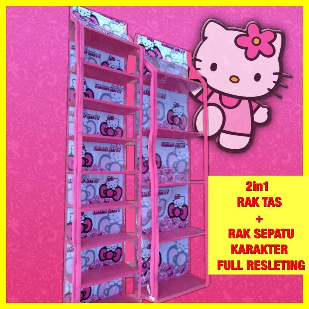 Rak Set 2in1 Karakter Tas Gantung Dan Sepatu Seleting Organizer Shopee Indonesia