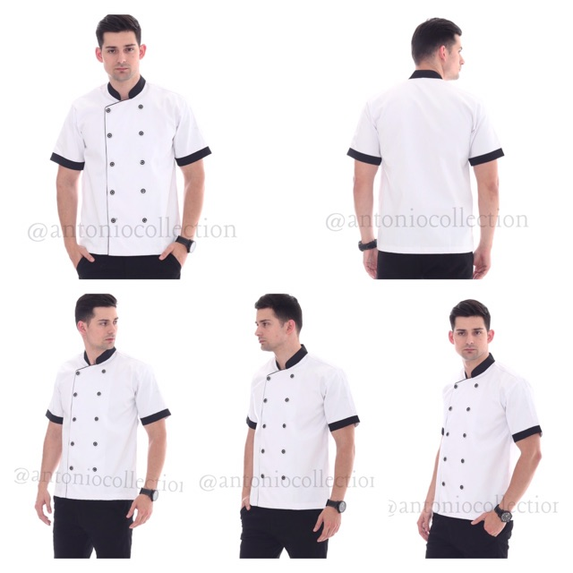 Baju Koki / Chef Putih Lengan Pendek List Hitam