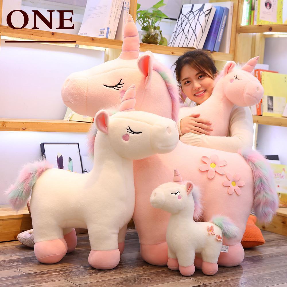 Kartun Pelangi Boneka Unicorn Mainan Mewah Boneka Pony Gadis Tidur Besar Bantal Bantal Headrest Kembali Shopee Indonesia