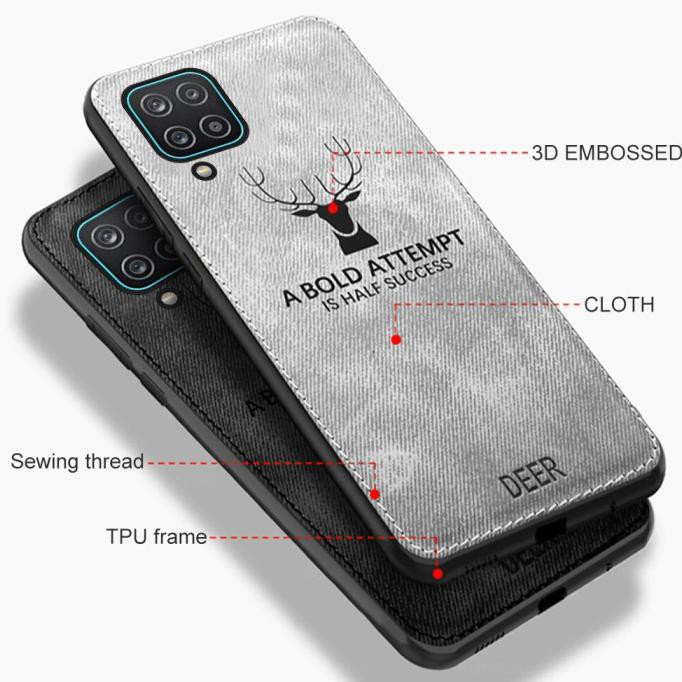 Case Samsung A12 Cloth Leather Deer Case Premium Softcase Lst-2499