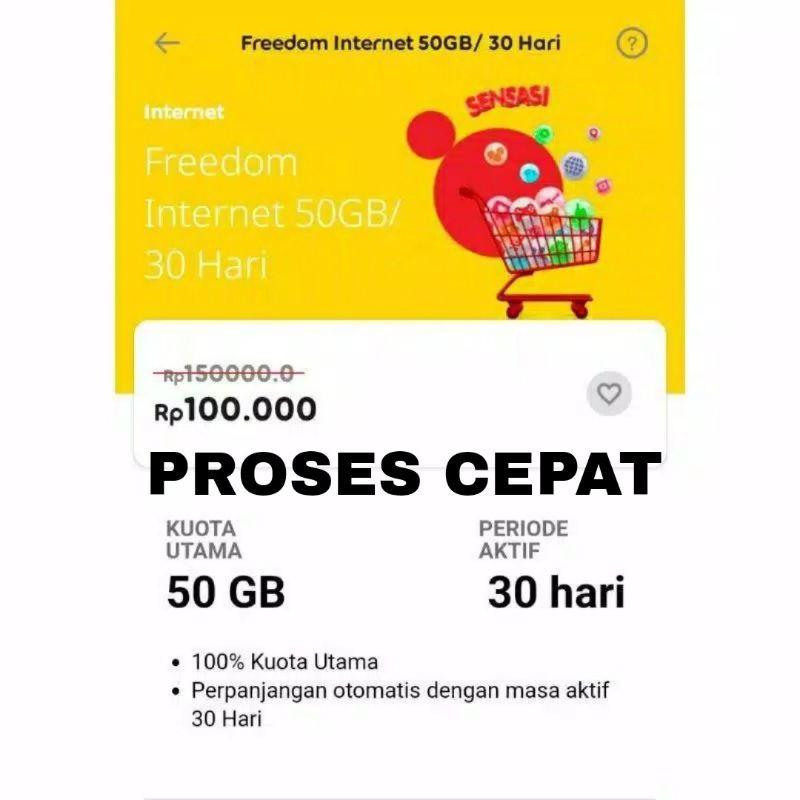 PAKET DATA MURAH GIFT INDOSAT IM3 OOREDOO FREEDOM INTERNET 50GB 24 JAM 30 hari