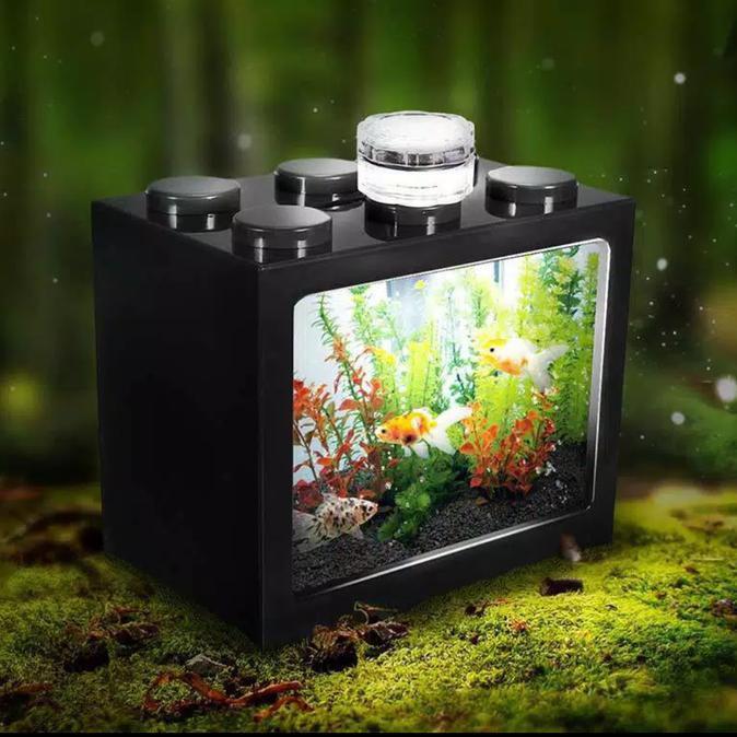 Aquarium Mini Kecil Susun Lampu Led Batere Ikan Hias Cupang Transparan Shopee Indonesia