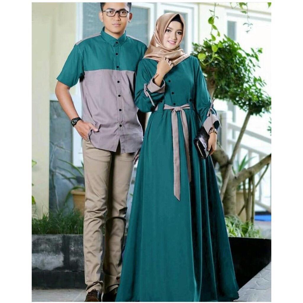 Baju Gamis Muslim Asmaradana Couple Warna Hijau Tosca