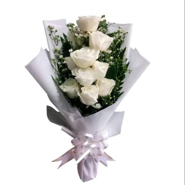 Hand Bouquet Bunga Mawar Putih Fresh Hadiah Anniversary Florist Indonesia Shopee Indonesia