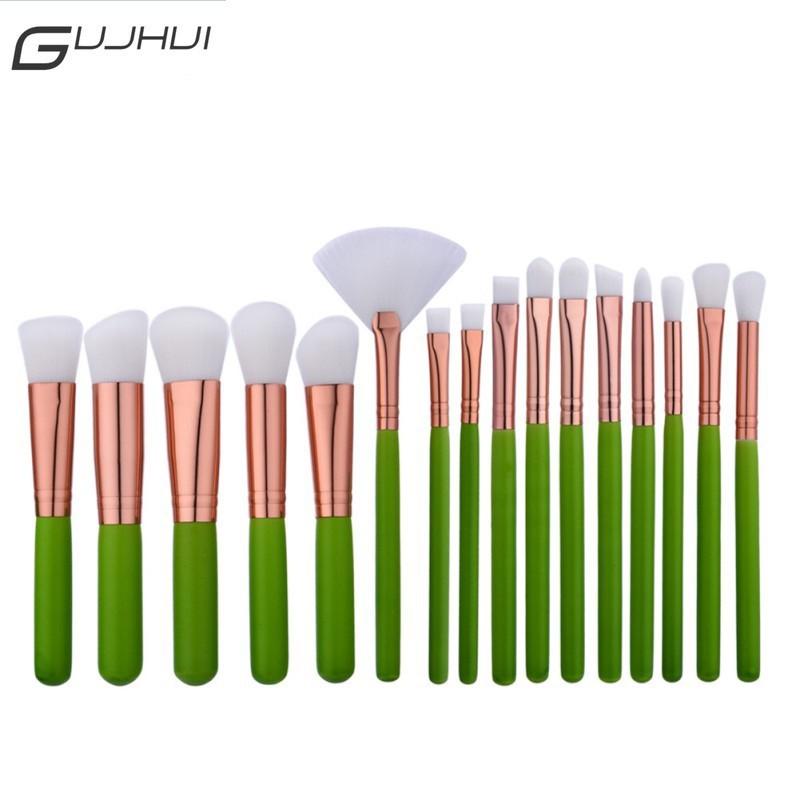 GUJHUI 6Pcs / Set Brush Lembut Warna Hijau