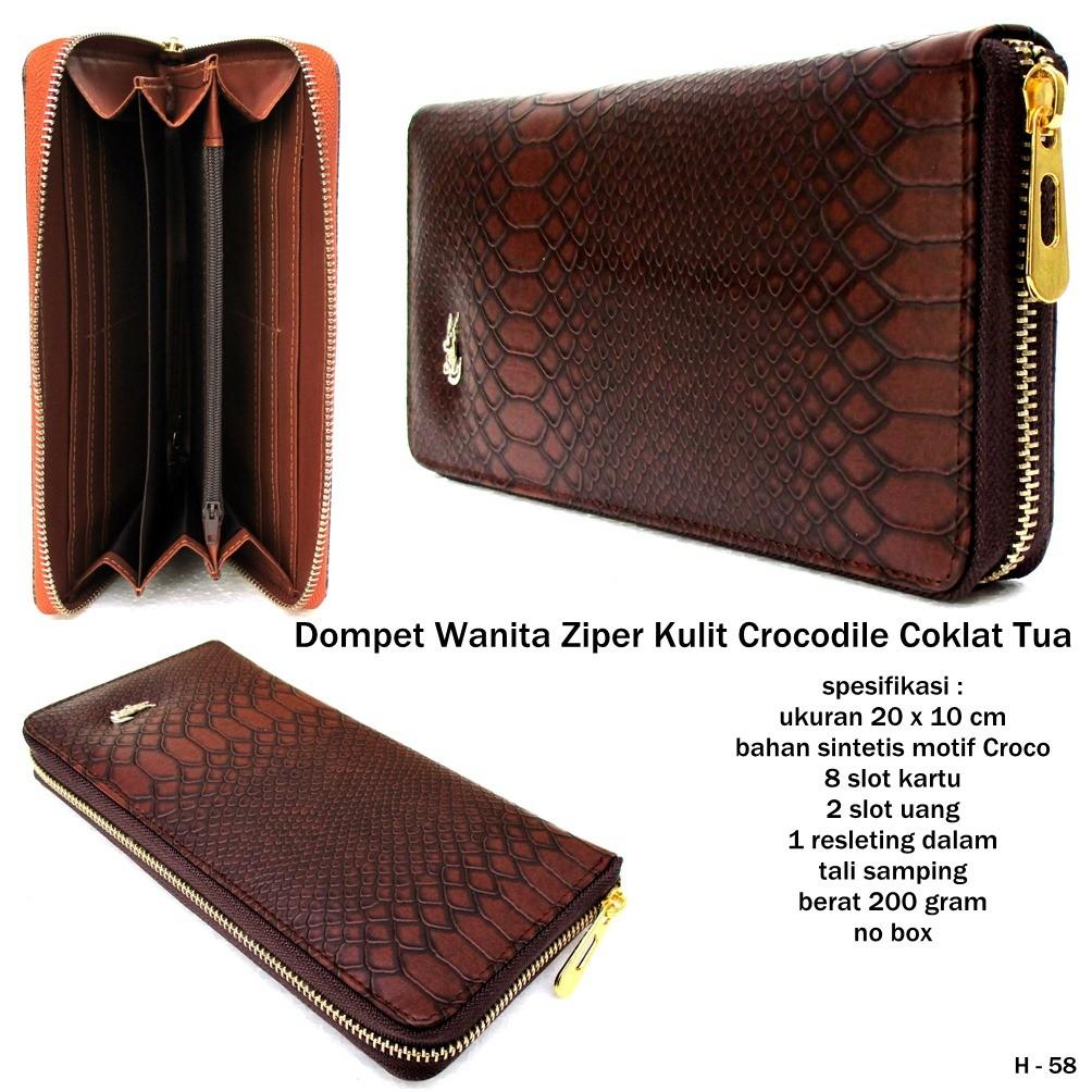 dompet kulit crocodile ziper coklat tua  2a30759115