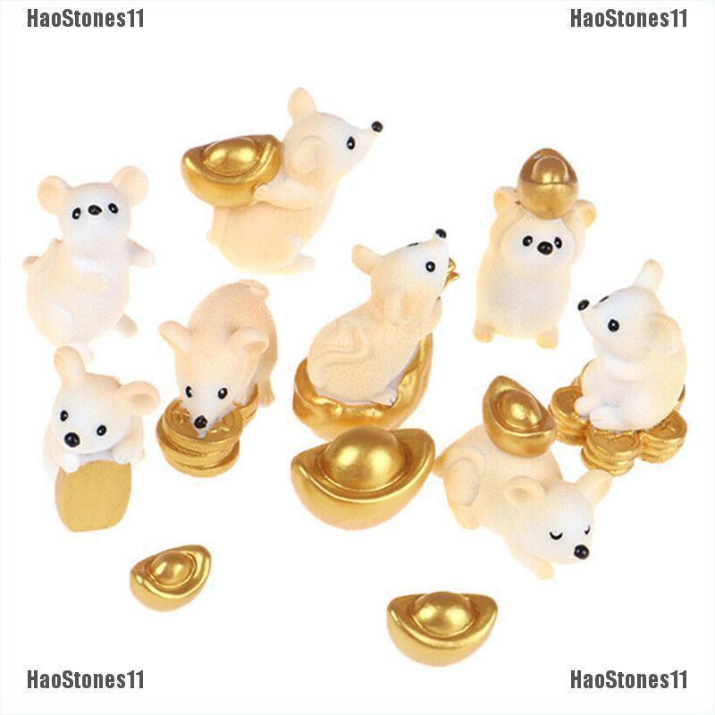 Rich Rat Mouse Resin Bonsai Decoration