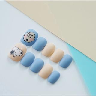 24 Kotak Stiker Kuku Palsu Motif Snoopy Warna Biru Muda Dapat Dilepas 6