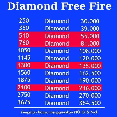 PROMO!! TopUp Diamond FF - Free Fire (Via ID) 100% Legal