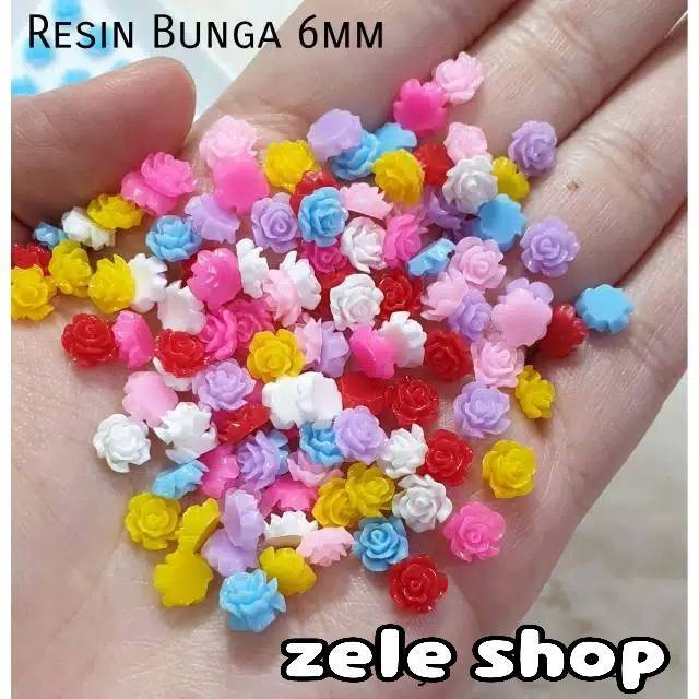 Nail Art Tangan: RESIN BUNGA WARNA UKURAN 6mm / Aksesoris Nail Art / Hiasan