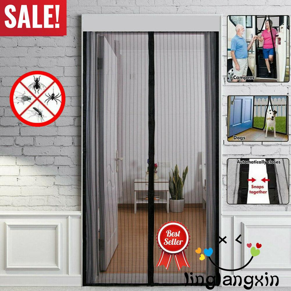 Black Magnetic Fly Insect Screen Door Screen Mesh Curtain Fits Door Up to 210cm x100cm White