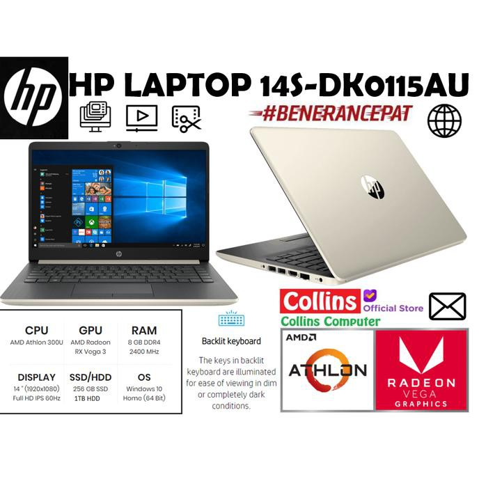 Electronics Store Laptop Hp 14s Dk0114au Dk0115au Athlon 300u 8gb 256gb 1tb 14 Fhd W10 Shopee Indonesia