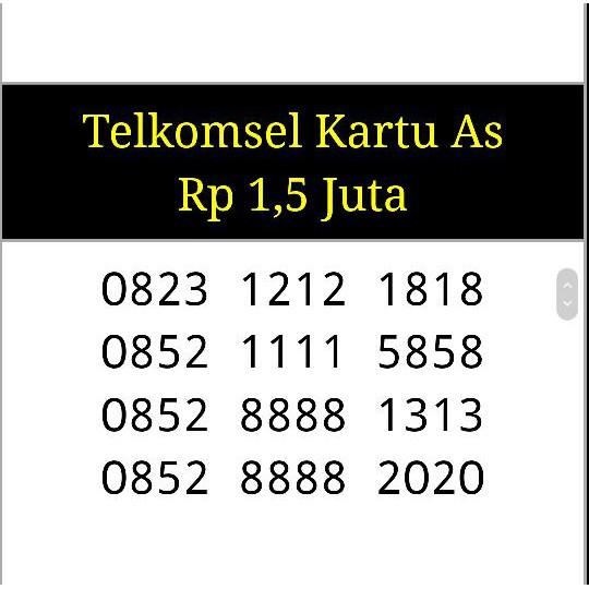 Nomor cantik telkomsel As 0852 8888 7878 seri abcd rapih bagus Terupdate | Shopee Indonesia
