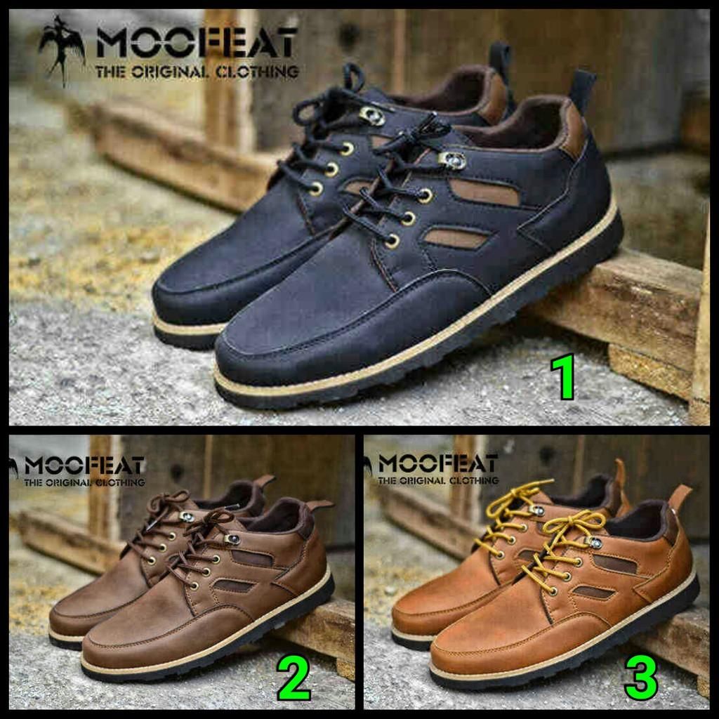 Sepatu Casual Semi Boots Moofeat Carlo Pria Murah Kets Sneakers Black Formal Fashion Original Shopee Indonesia