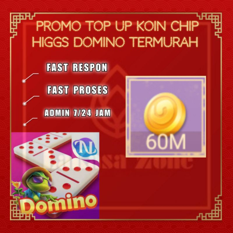 [ SPayLater ] Promo Top Up Koin Chip Higgs Domino Termurah - Chip Ungu / MD 60M