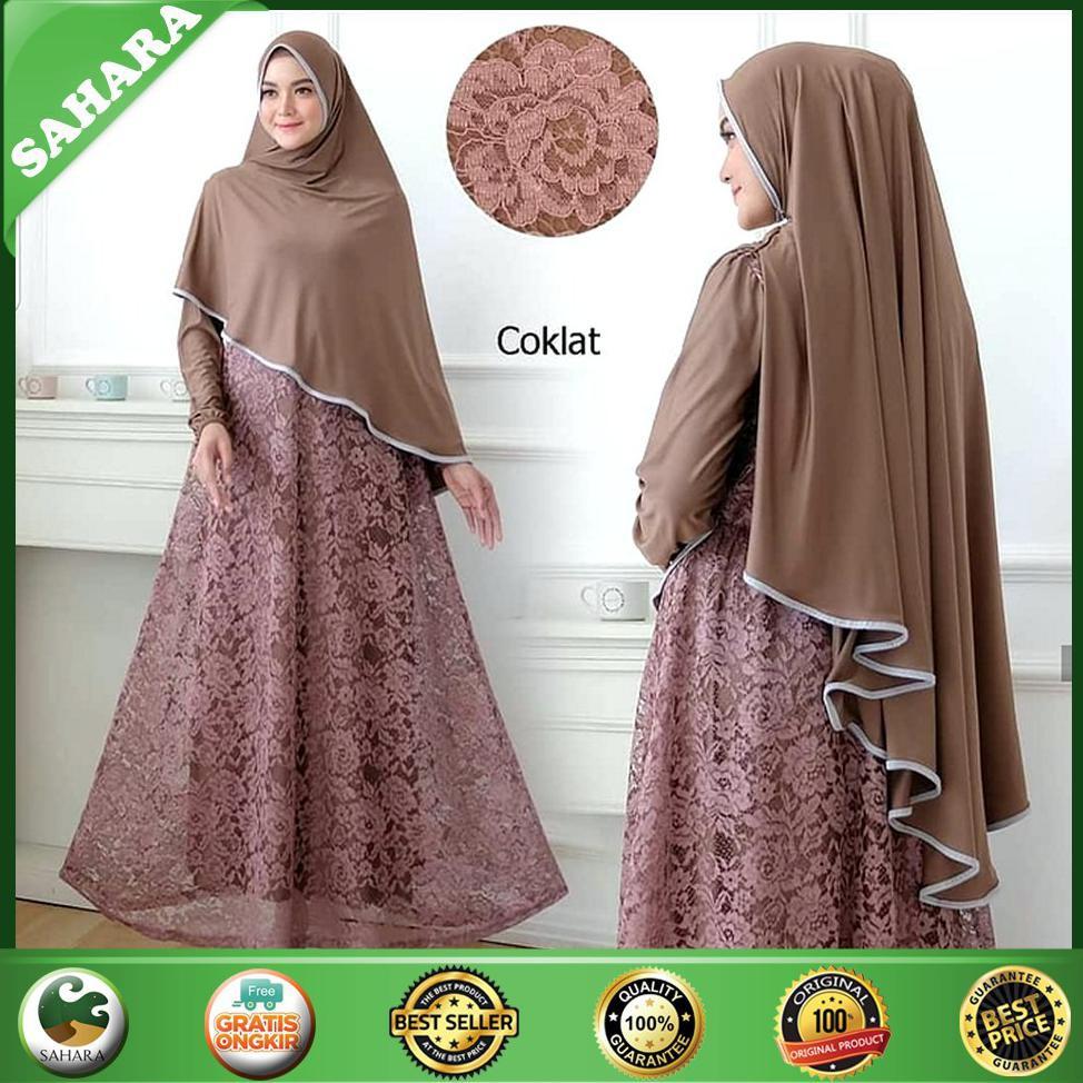 Baju Gamis Muslim Terbaru/LEHAN/Gamis Syari Murah - Mocca SHE11