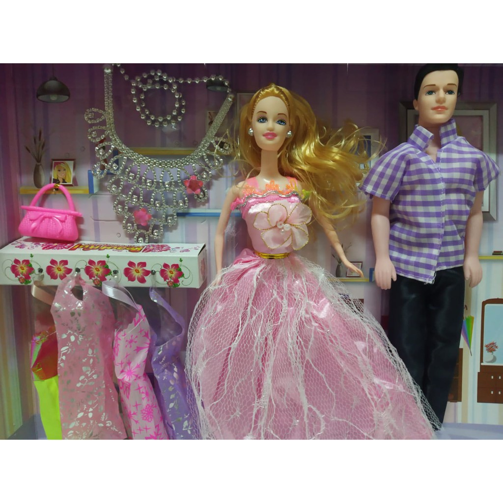 Mainan Anak Perempuan Boneka Barbie Pasangan Couple Baju Pesta Shopee Indonesia