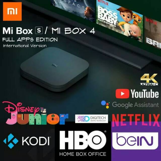 Full Apps Tv Box Android Xiaomi Mi Box 3S/ Mi Box 4 International Version  Plug & Play
