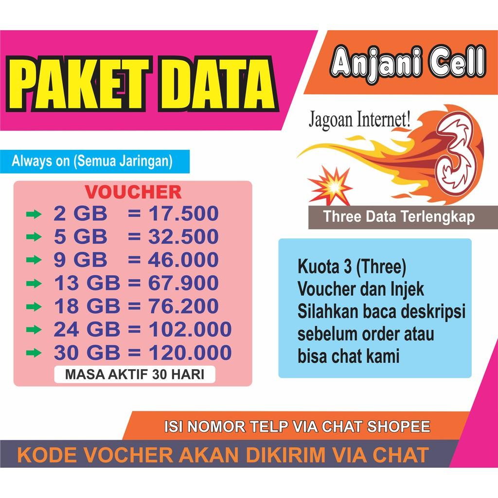PROMO PAKET DATA TRI PAKET DATA THREE AON | Shopee Indonesia
