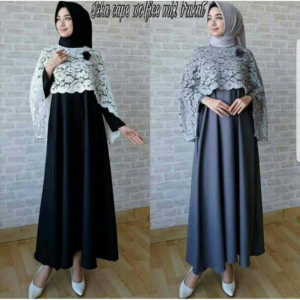 baju muslim wanita murah gamis maxy dress iska cape brokat hitam abu free  bross hijab gaun blouse k