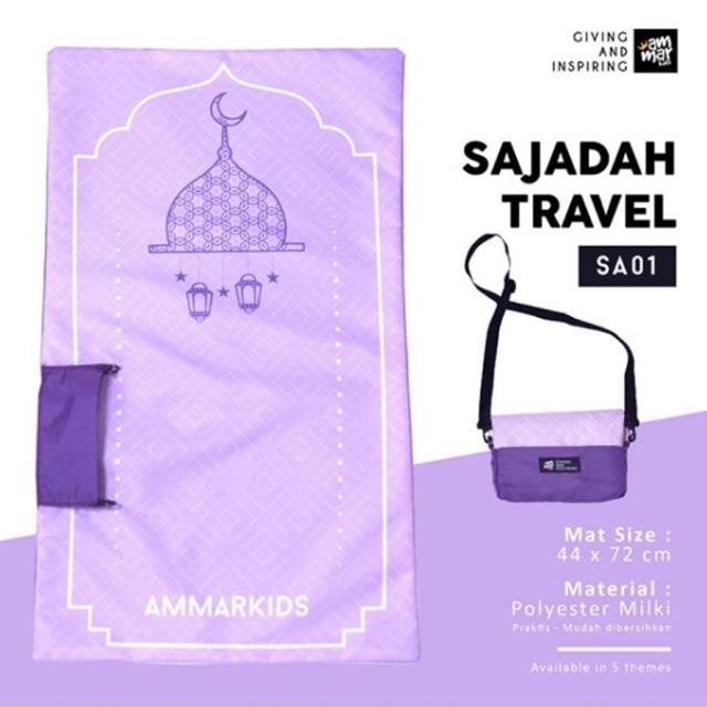 Ammarkids Sajadah Anak Travel Gambar Masjid Ungu Praktis Shopee