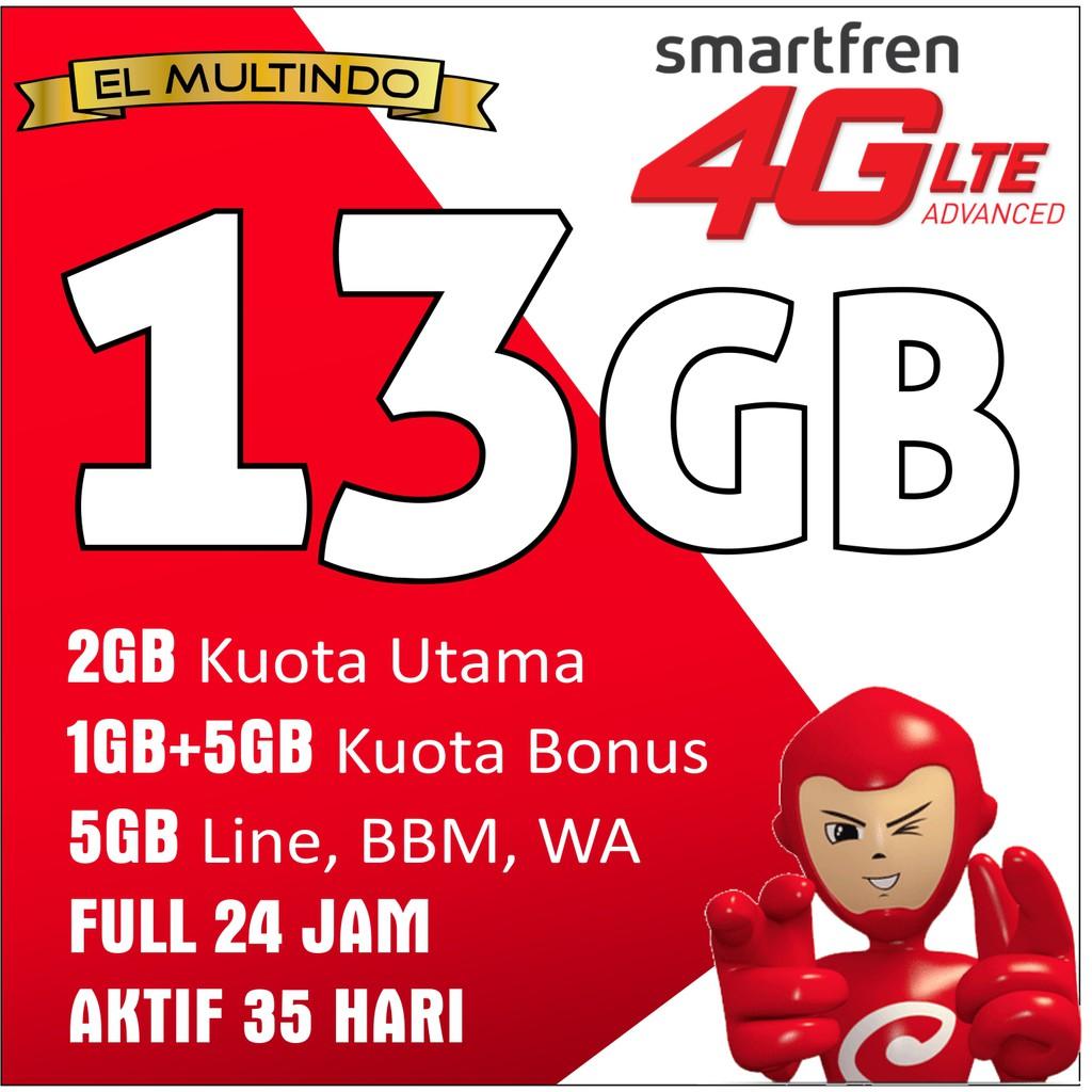 Smartfren Kuota 13gb Kartu Perdana Data Internet 13 Shopee Indonesia