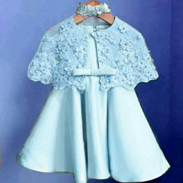 Dress Anak Usia 2 4 Tahun Bagus Cape Brukatbrokatlace Cantik Lucu Cute Free Bandana