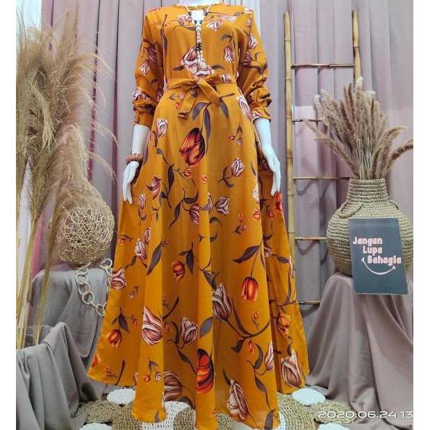 Code Sale 500 Gamis Monalisa Klok 4 Meter Motif Bunga Tulip ぃ Shopee Indonesia