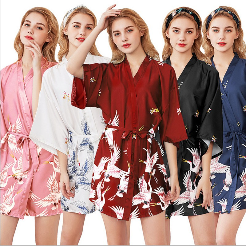 2020 New Dressing Gown Silk Crane Pajamas Women Summer Middle Sleeve Bridal Dressing Gown Plus Size Home Night Gown Bathrobe Shopee Indonesia