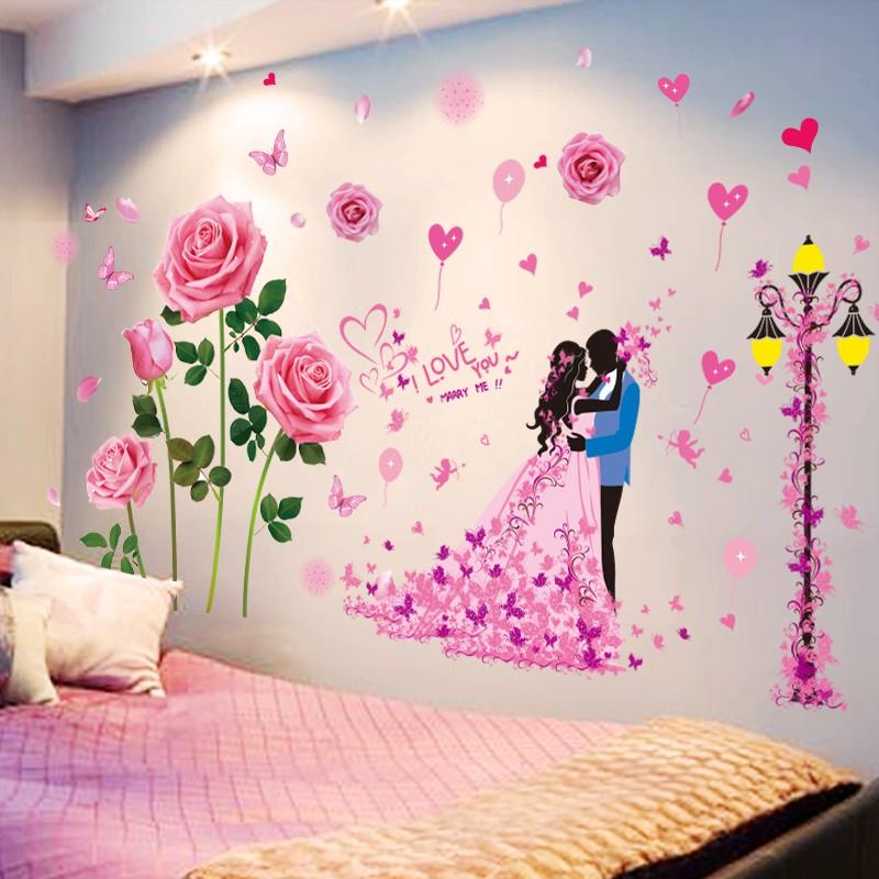 Romantis Naik Stiker Dinding Kamar Tidur Ruang Tamu Sofa Tv Latar Belakang Stiker Dekorasi Wallpaper Stiker Dinding Perekat Diri Shopee Indonesia