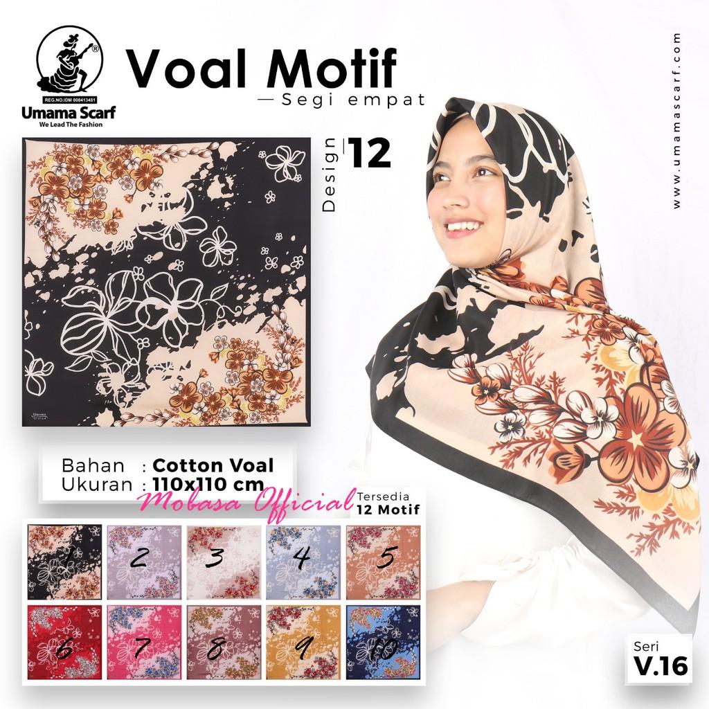 Segiempat Voal Motif Umama Scarf [VM9] Jilbab Segiempat Motif Kerudung  Segi empat