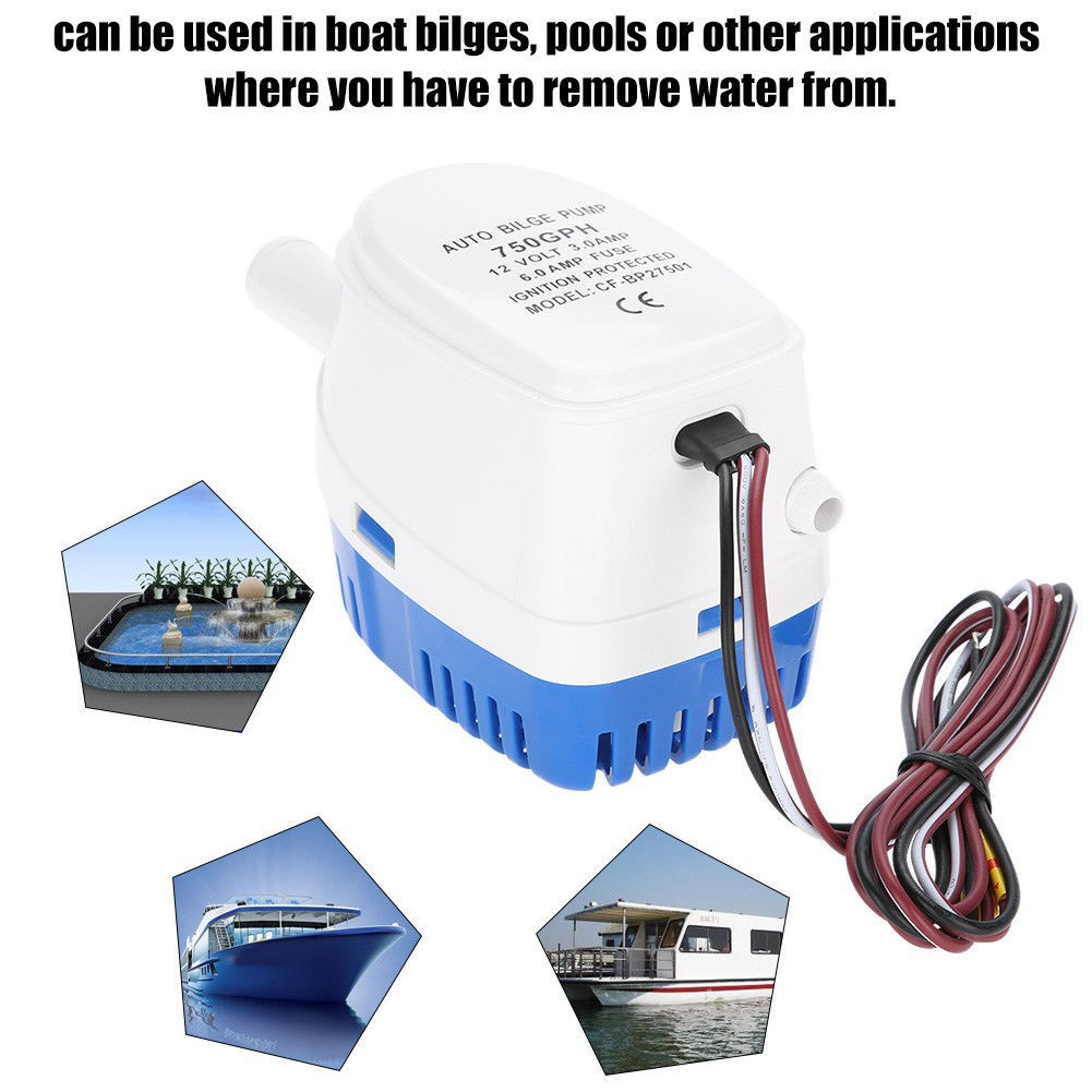 12V 750GPH Boat Marine Automatic Submersible Auto Bilge Water Pump Float Switch