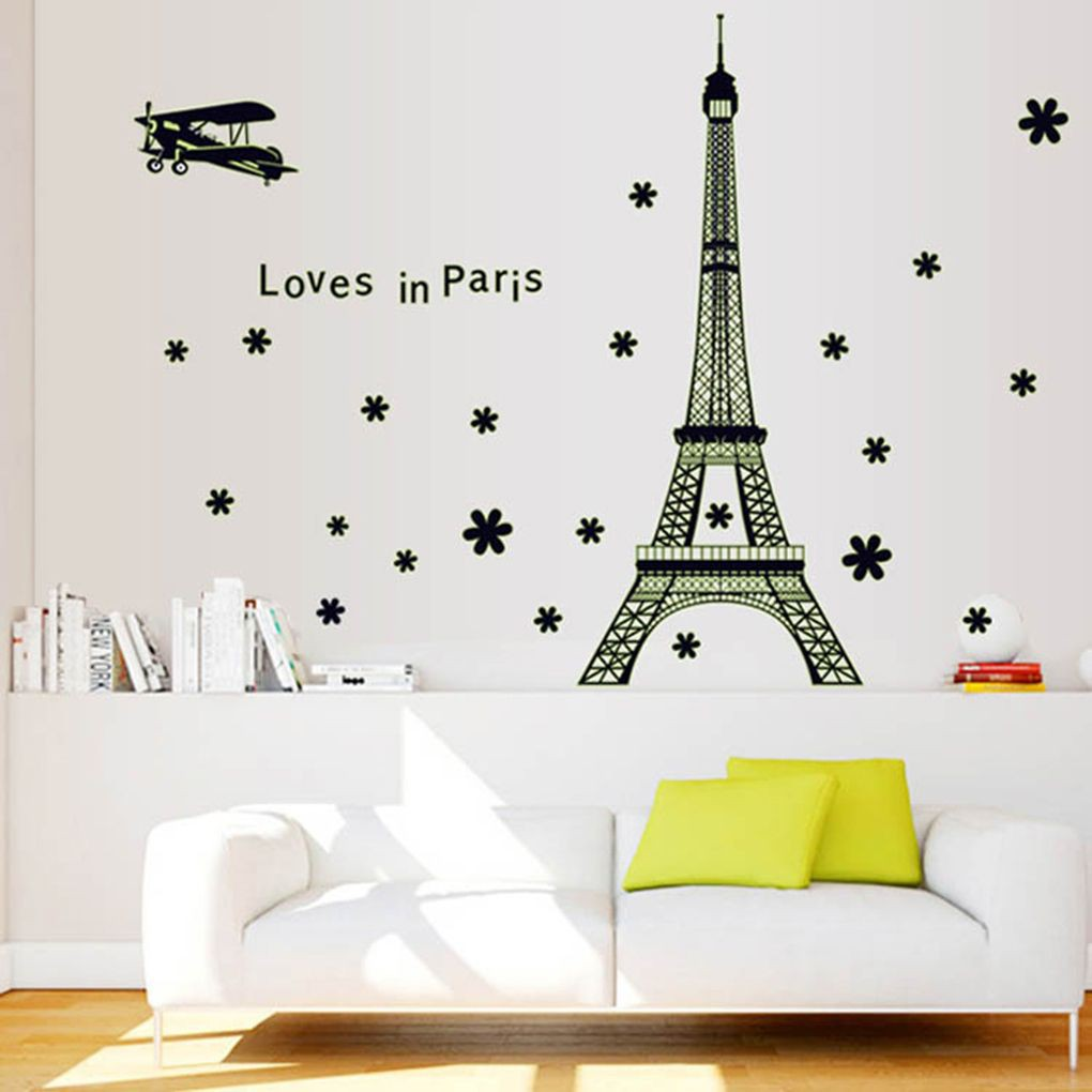 Stiker Dinding Dengan Bahan PVC Gambar Menara Eiffel Dan Bunga Menyala Dalam Gelap