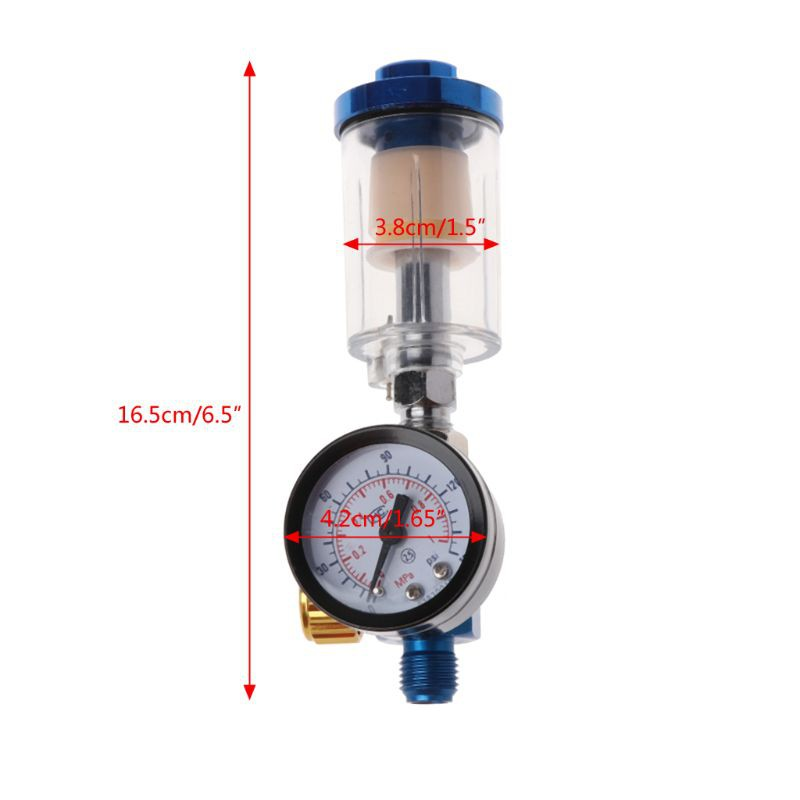 Air Pressure Regulator Gauge Spray Gun In-Line Water Oil Trap Filter Separa