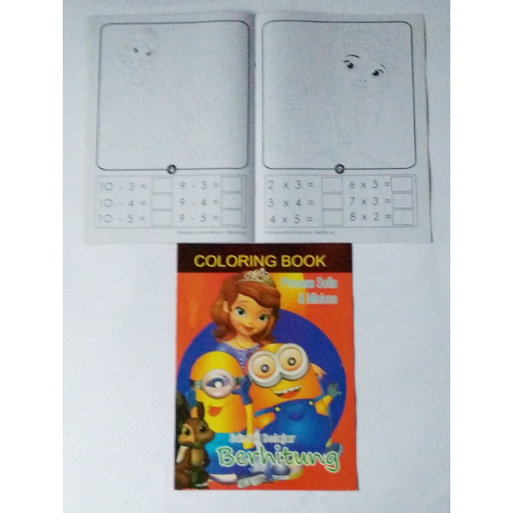Buku Mewarnai Anak Belajar Membaca Atau Menulis Karakter Gambar Princess Sofie Dan Minion