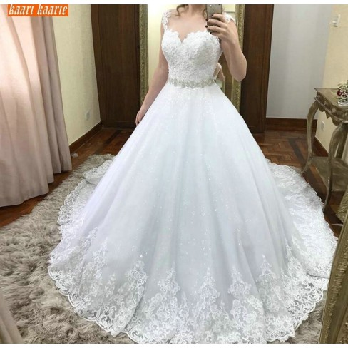 Ball Gown Wedding Dresses Sleeveless Belt Wedding Gowns Princess Bridal Dress Custom Made Shopee Indonesia