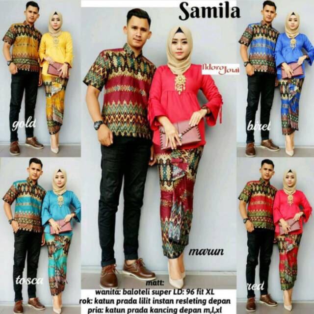 Batik Couple Samila Modern Murah Kekinian Kondangan Rok Lilit Seragaman Pakaian Kebaya
