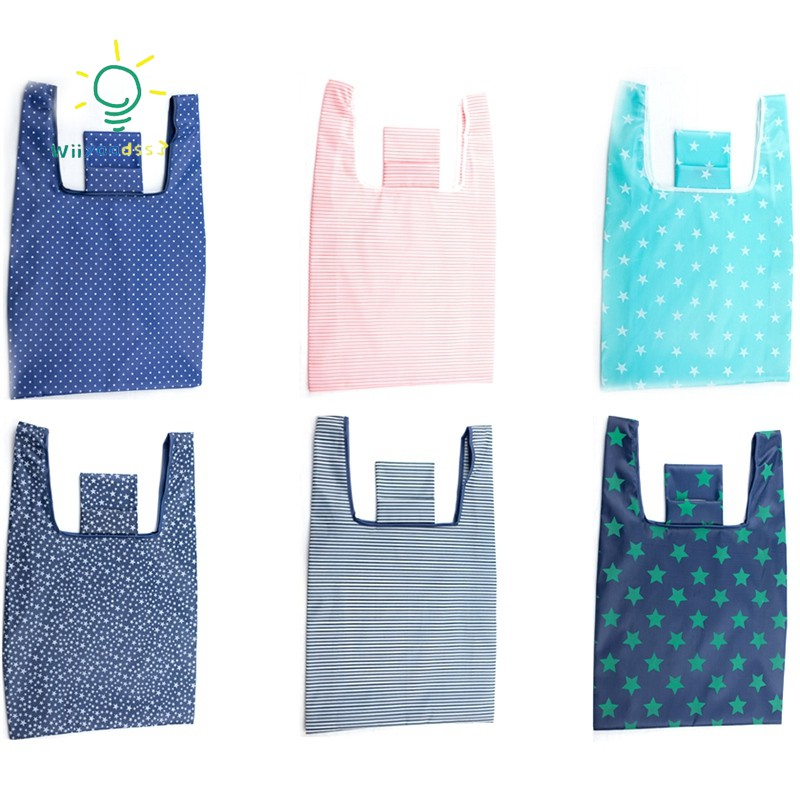 6 Packs Of Reusable Shopping Grocery Bags Foldable Washable Grocery Bags Carrying 35 Lbs Shopping Tote Bag Shopee Indonesia