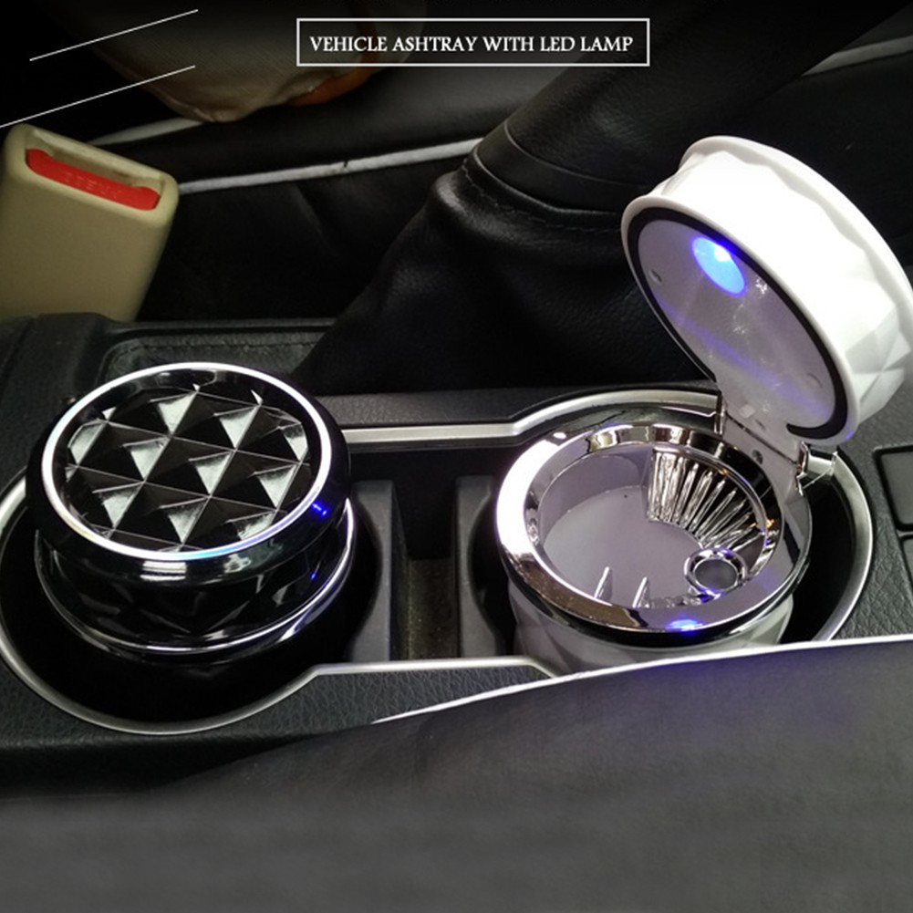 Universal Car Ashtray Holder Led Light Asbak Rokok Mobil Review Mini Portabel Dengan Lampu Untuk